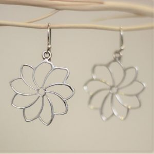 Flower Wire Dangle Earrings in Sterling Silver