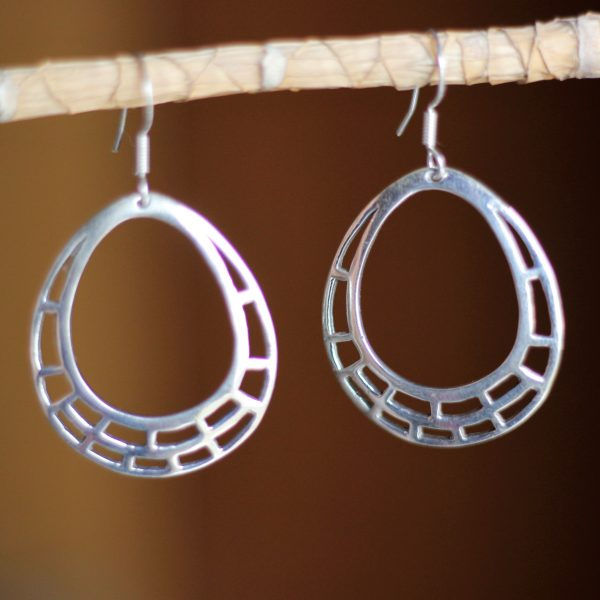 Pear Shape Handmade Silver Earrings
