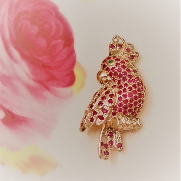 Ruby n Parrot Brooch Pin