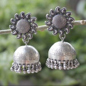 Indian Traditional Jhumkis / Silver Earrings