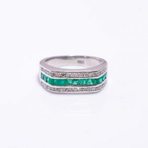 Emerald & Diamonds encrusted Sterling Silver Engagement Band