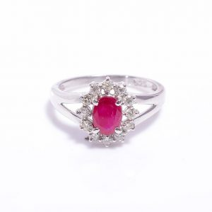 Ruby & Diamonds Halo Engagement Ring in Sterling Silver