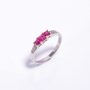Ruby & Diamonds Sterling Silver Engagement Ring