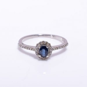 Blue Sapphire & Diamond Engagement Ring in Sterling Silver
