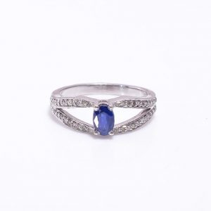 Blue Sapphire & Diamonds Sterling Silver Engagement Ring