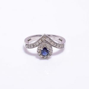 Blue Sapphire & Diamonds Encrusted Sterling Silver Engagement Ring