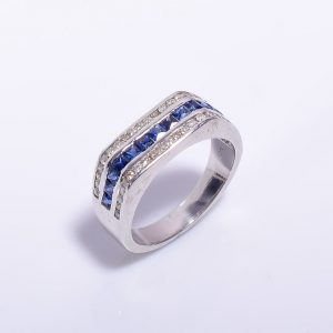 Blue Sapphire & Diamonds encrusted Sterling Silver Band2