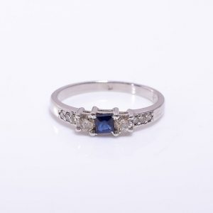 Blue Sapphire & Diamonds Sterling Silver Ring