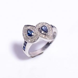 Blue Sapphire & Diamonds Encrusted Sterling Silver Ring