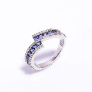 Blue Sapphire & Diamonds Engagement Ring