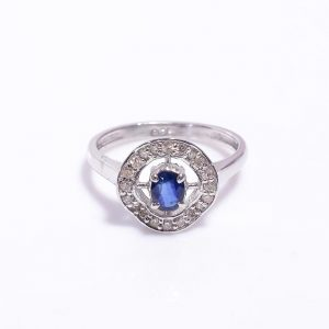 Blue Sapphire & Diamonds embedded Silver Engagement Ring