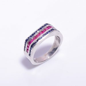 Blue Sapphire & Ruby encrusted Silver Engagement Band