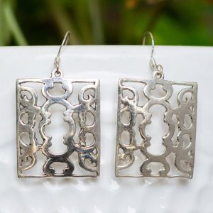 Ethnic Silver Earrings In Traditional Design