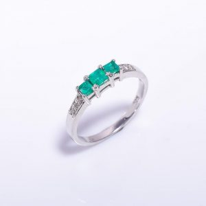 Emerald & Diamond Engagement Band in Silver