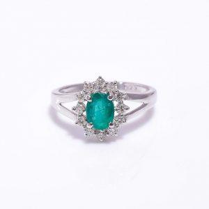 Emerald & Diamonds Halo Ring in Sterling Silver