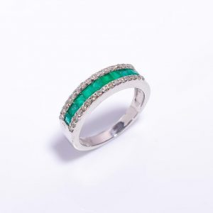 Emerald Engagement Ring with Diamonds in Sterling Silver