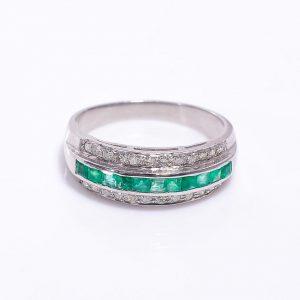 Emerald & Diamond Engagement Band