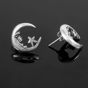Moon and Stars Silver Earrings