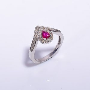 Ruby & Diamonds Encrusted Sterling Silver Engagement Ring