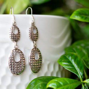 Long Chandelier Silver Earrings