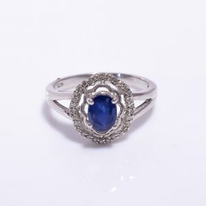 Victorian Blue Sapphire and Diamonds Engagement Ring