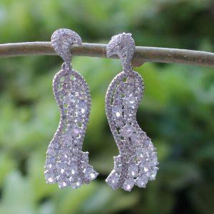 Ethnic Silver Peacock Earrings