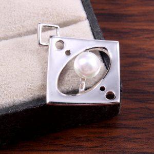 Sterling Silver Square Pearl Pendant