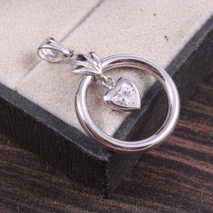 Silver Open Circle Heart Pendant