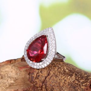 Red Teardrop Engagement Ring