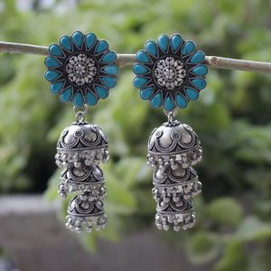 Cascading Silver Jhumkis/ Earrings in Turquoise
