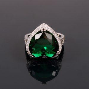 Heart of Ocean, Blue & Green Heart Engagement Ring
