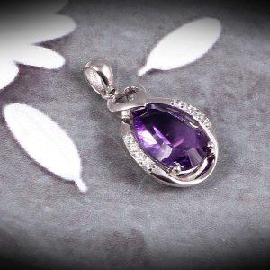 Purple Elegant Pendant in Sterling Silver