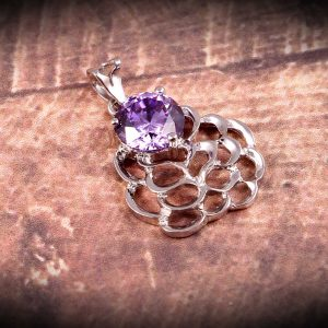 Christmas Gift Sterling Silver Floral Pendant with CZ