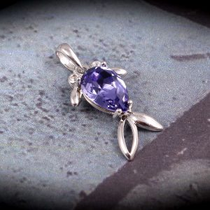 Purple Fish Pendant in Sterling Silver for Girls