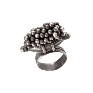 Silver Beads & Drum Handmade Ring