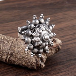 Tribal Sterling Silver Ring with Adjustable Band