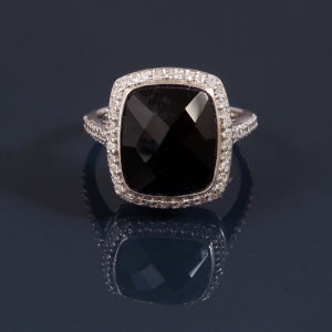 Black Engagement Ring in Sterling Silver