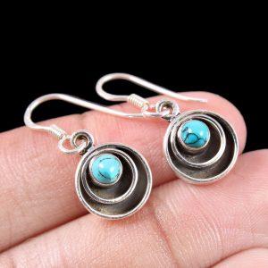 Minimalist Turquoise Earrings in Sterling Silver