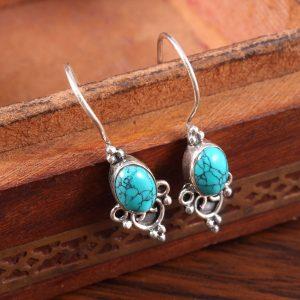 Sterling Silver Earrings in Turquoise Gemstone