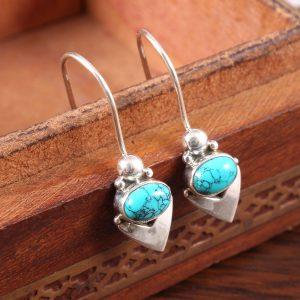 Turquoise Silver Dangle Earrings for Women