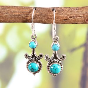 Turquoise Sterling Silver Trendy Earrings