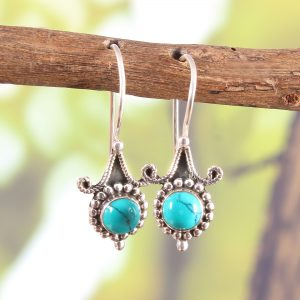 Antique Oxidized Pure Silver Turquoise Earrings