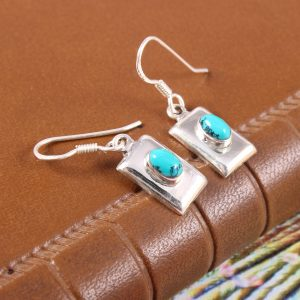 Lightweight Pure Silver Turquoise Earrings