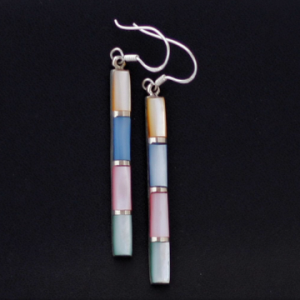 Pastel Color MOP Earrings in Solid Sterling Silver 925