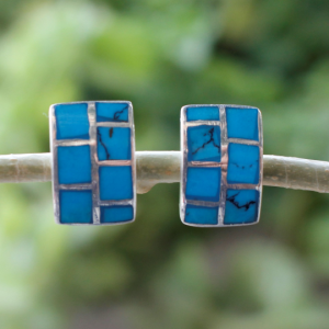 Blue MOP Studs in Sterling Silver